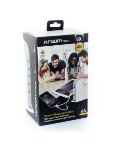 CARGADOR USB 6A 2.0 110/220V ARG-AC-0119WT