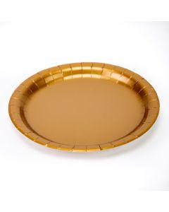 Plato cartón dorado 8und